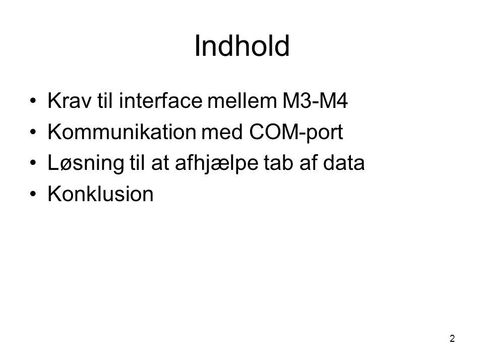 2 Indhold Krav til interface mellem M3-M4 Kommunikation med COM-port Løsning til at afhjælpe tab af data Konklusion
