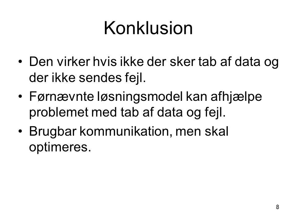 8 Konklusion Den virker hvis ikke der sker tab af data og der ikke sendes fejl.