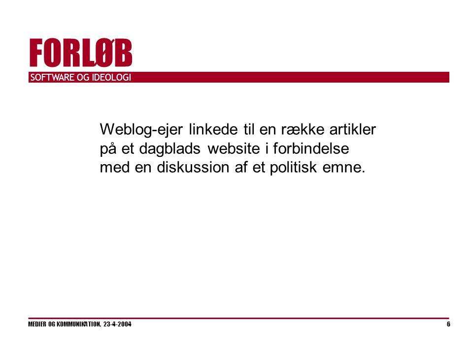 SOFTWARE OG IDEOLOGI MEDIER OG KOMMUNIKATION, 23-4-2004 6 FORLØB Weblog-ejer linkede til en række artikler på et dagblads website i forbindelse med en diskussion af et politisk emne.