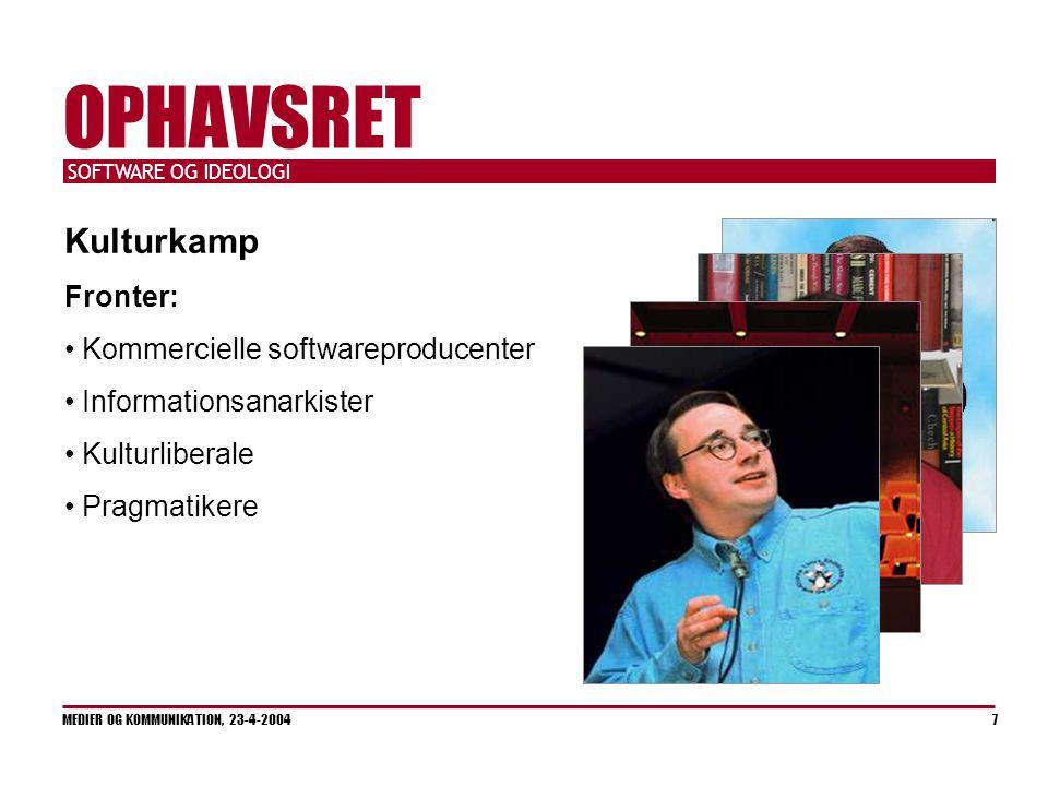 SOFTWARE OG IDEOLOGI MEDIER OG KOMMUNIKATION, 23-4-2004 7 OPHAVSRET Kulturkamp Fronter: Kommercielle softwareproducenter Informationsanarkister Kulturliberale Pragmatikere