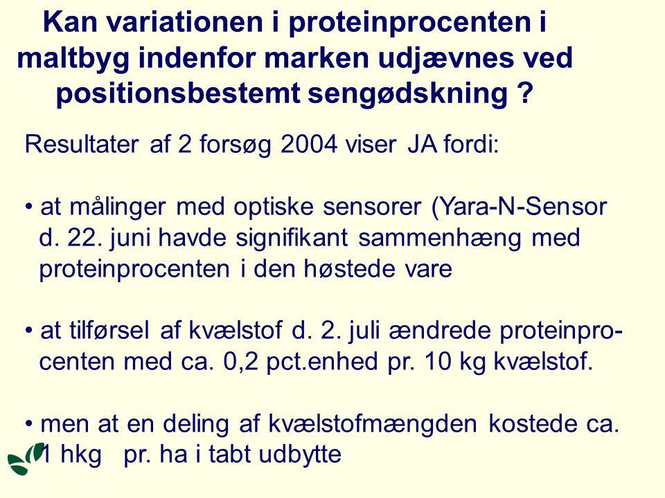 Kan variationen i proteinprocenten i maltbyg indenfor marken udjævnes ved positionsbestemt sengødskning .