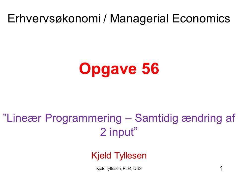 1 Opgave 56 Lineær Programmering – Samtidig ændring af 2 input Kjeld Tyllesen Erhvervsøkonomi / Managerial Economics Kjeld Tyllesen, PEØ, CBS
