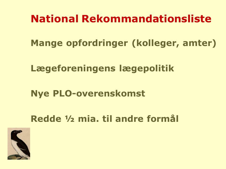 National Rekommandationsliste Mange opfordringer (kolleger, amter) Lægeforeningens lægepolitik Nye PLO-overenskomst Redde ½ mia.