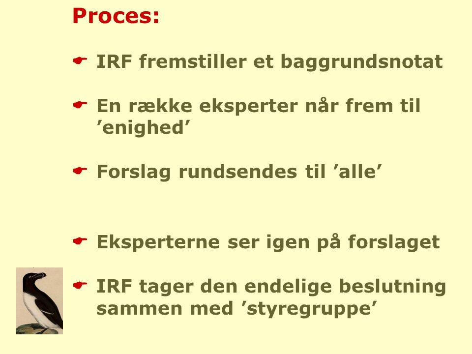 Proces:  IRF fremstiller et baggrundsnotat  En række eksperter når frem til 'enighed'  Forslag rundsendes til 'alle'  Eksperterne ser igen på forslaget  IRF tager den endelige beslutning sammen med 'styregruppe'