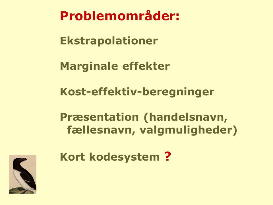 Problemområder: Ekstrapolationer Marginale effekter Kost-effektiv-beregninger Præsentation (handelsnavn, fællesnavn, valgmuligheder) Kort kodesystem