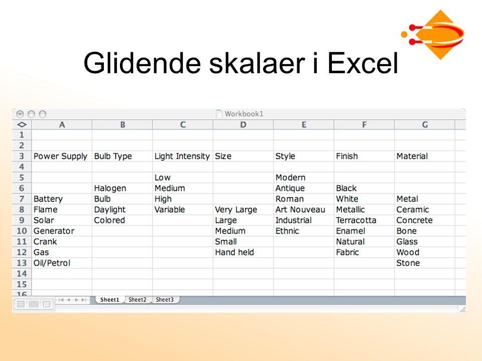 Glidende skalaer i Excel