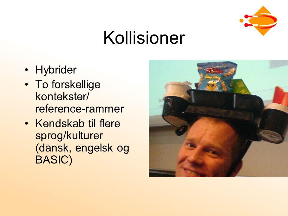 Kollisioner Hybrider To forskellige kontekster/ reference-rammer Kendskab til flere sprog/kulturer (dansk, engelsk og BASIC)