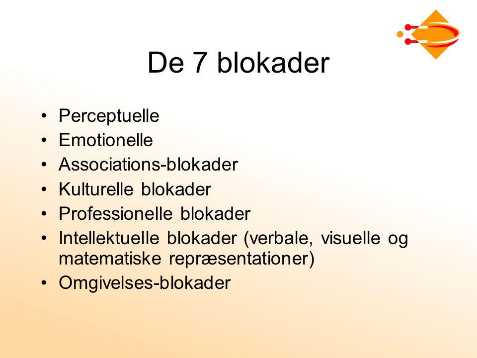 De 7 blokader Perceptuelle Emotionelle Associations-blokader Kulturelle blokader Professionelle blokader Intellektuelle blokader (verbale, visuelle og matematiske repræsentationer) Omgivelses-blokader