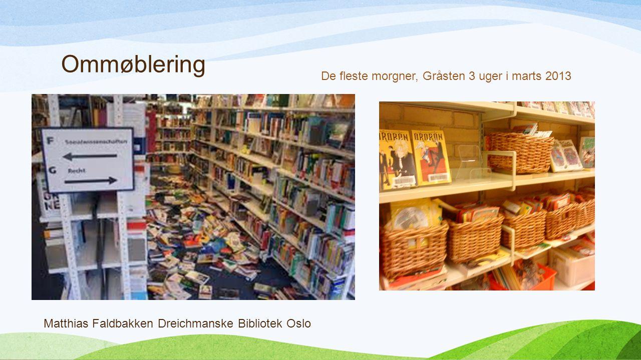 Ommøblering Matthias Faldbakken Dreichmanske Bibliotek Oslo De fleste morgner, Gråsten 3 uger i marts 2013