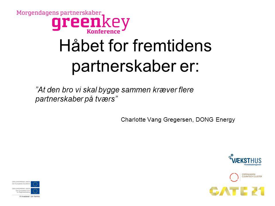 Håbet for fremtidens partnerskaber er: At den bro vi skal bygge sammen kræver flere partnerskaber på tværs Charlotte Vang Gregersen, DONG Energy