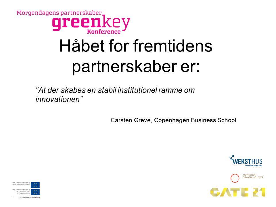 Håbet for fremtidens partnerskaber er: At der skabes en stabil institutionel ramme om innovationen Carsten Greve, Copenhagen Business School