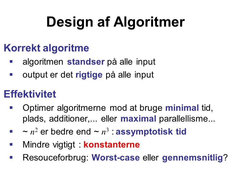 Design af Algoritmer Korrekt algoritme  algoritmen standser på alle input  output er det rigtige på alle input Effektivitet  Optimer algoritmerne mod at bruge minimal tid, plads, additioner,...