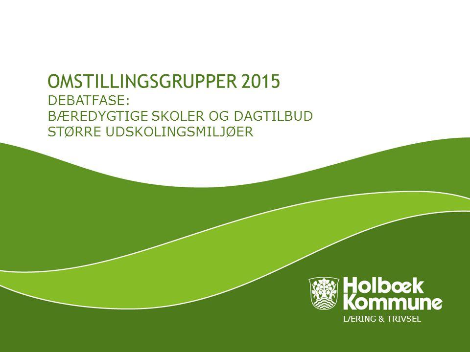 LÆRING & TRIVSEL OMSTILLINGSGRUPPER 2015 DEBATFASE: BÆREDYGTIGE SKOLER OG DAGTILBUD STØRRE UDSKOLINGSMILJØER
