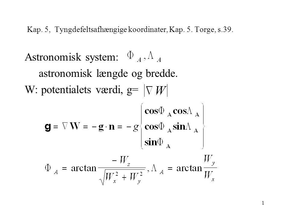 1 Kap. 5, Tyngdefeltsafhængige koordinater, Kap. 5.