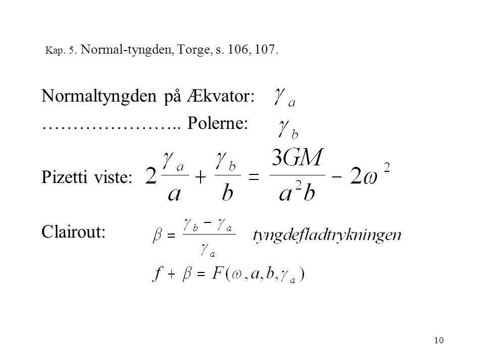 10 Kap. 5. Normal-tyngden, Torge, s. 106, 107. Normaltyngden på Ækvator: …………………..