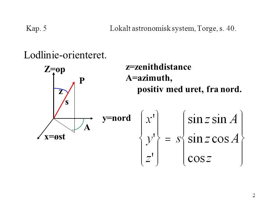 2 Kap. 5Lokalt astronomisk system, Torge, s. 40.
