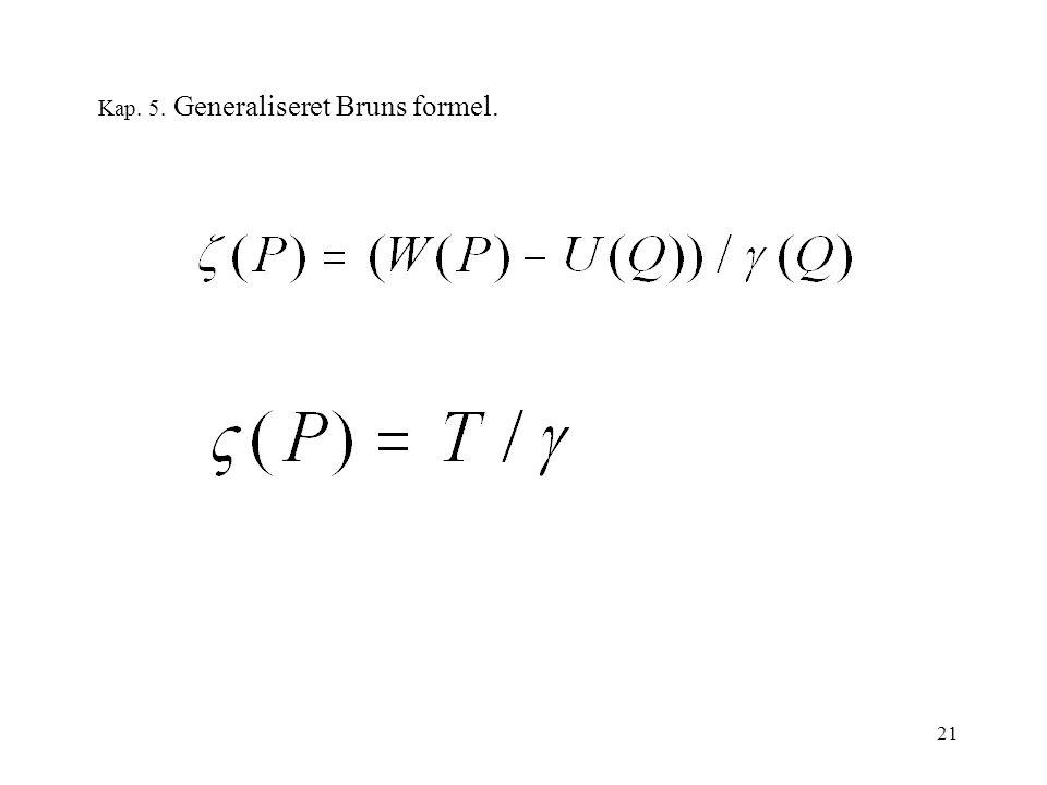 21 Kap. 5. Generaliseret Bruns formel.