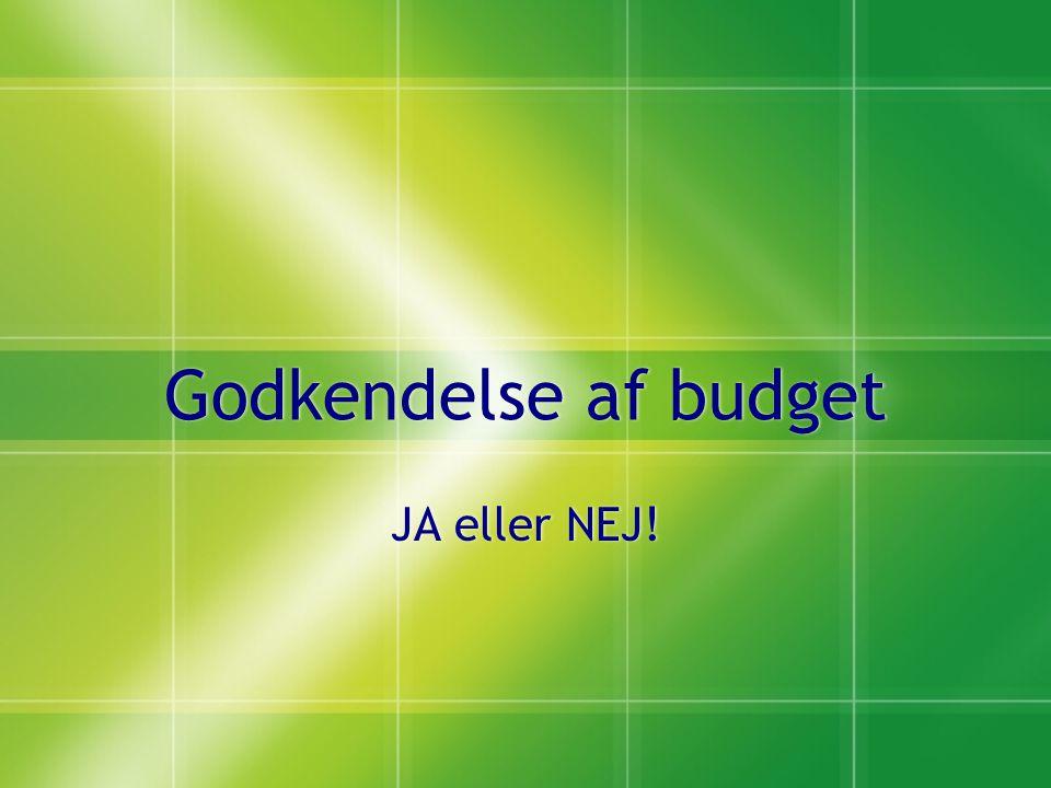 Godkendelse af budget JA eller NEJ!