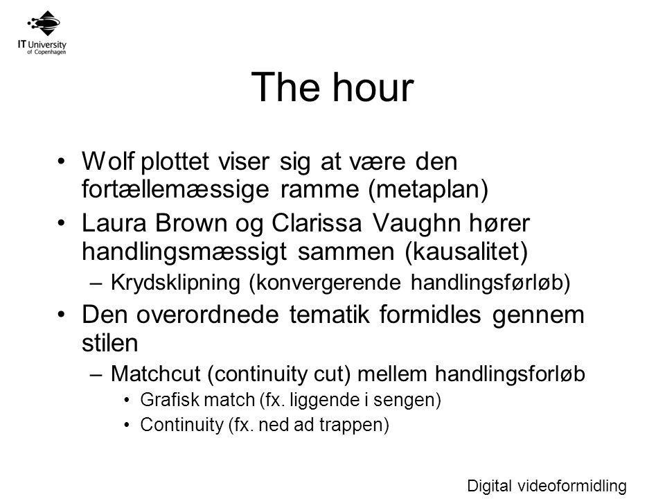 Digital videoformidling The hour Wolf plottet viser sig at være den fortællemæssige ramme (metaplan) Laura Brown og Clarissa Vaughn hører handlingsmæssigt sammen (kausalitet) –Krydsklipning (konvergerende handlingsførløb) Den overordnede tematik formidles gennem stilen –Matchcut (continuity cut) mellem handlingsforløb Grafisk match (fx.