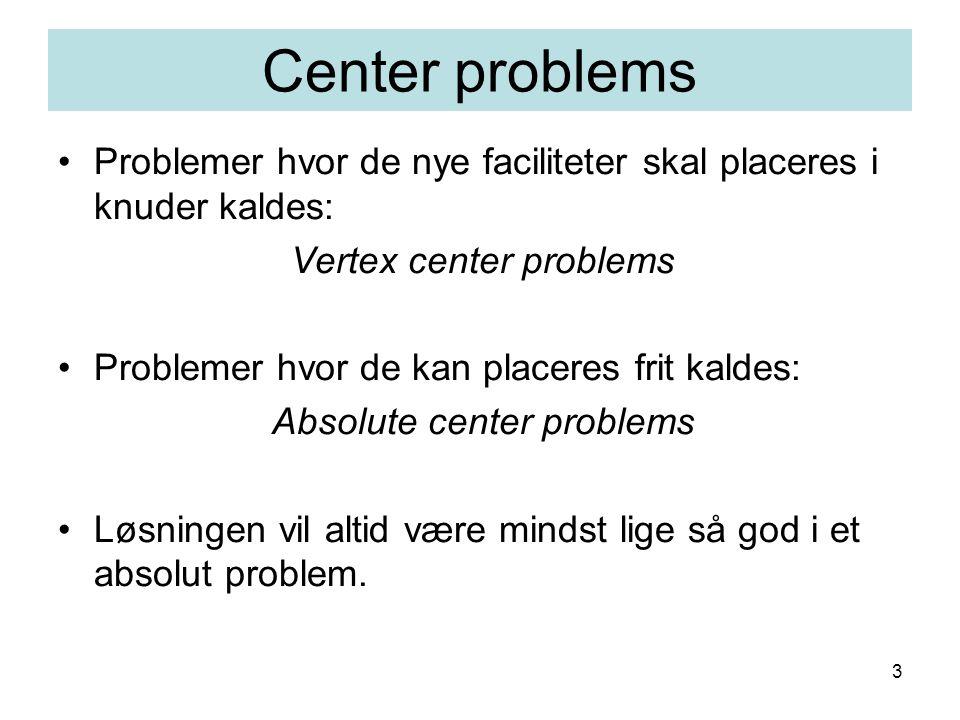 3 Center problems Problemer hvor de nye faciliteter skal placeres i knuder kaldes: Vertex center problems Problemer hvor de kan placeres frit kaldes: Absolute center problems Løsningen vil altid være mindst lige så god i et absolut problem.