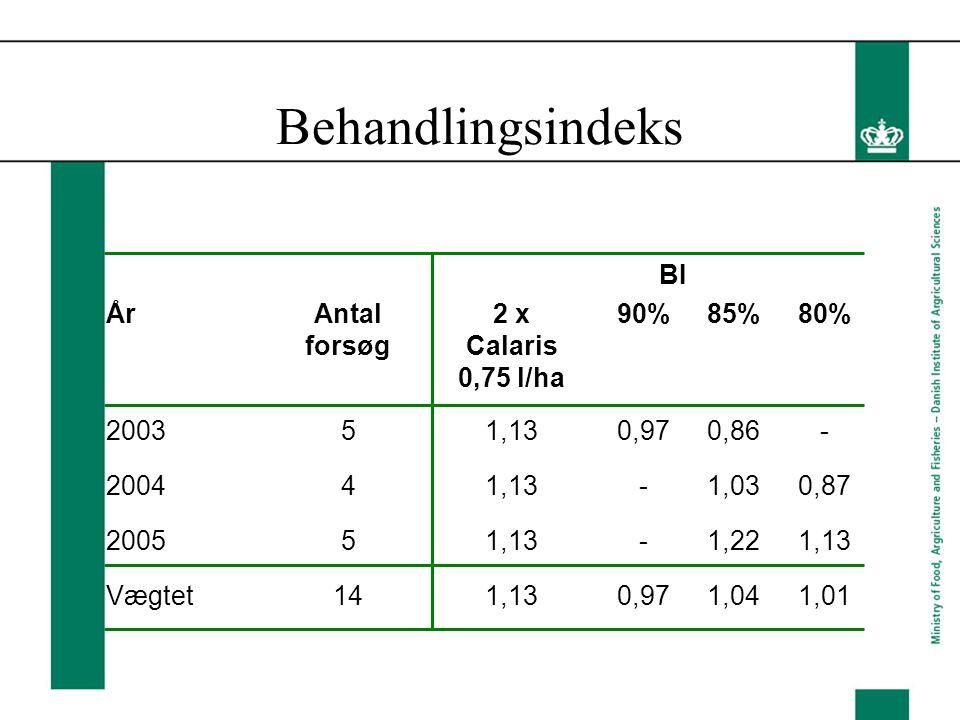 Behandlingsindeks BI ÅrAntal forsøg 2 x Calaris 0,75 l/ha 90%85%80% 200351,130,970,86- 200441,13-1,030,87 200551,13-1,221,13 Vægtet141,130,971,041,01
