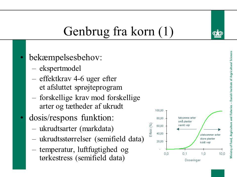 Genbrug fra korn (1) bekæmpelsesbehov: –ekspertmodel –effektkrav 4-6 uger efter et afsluttet sprøjteprogram –forskellige krav mod forskellige arter og tætheder af ukrudt dosis/respons funktion: –ukrudtsarter (markdata) –ukrudtsstørrelser (semifield data) –temperatur, luftfugtighed og tørkestress (semifield data)