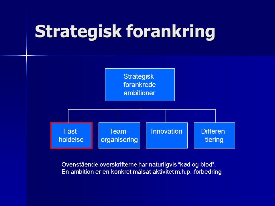 Strategisk forankrede ambitioner Fast- holdelse Team- organisering InnovationDifferen- tiering Ovenstående overskrifterne har naturligvis kød og blod .