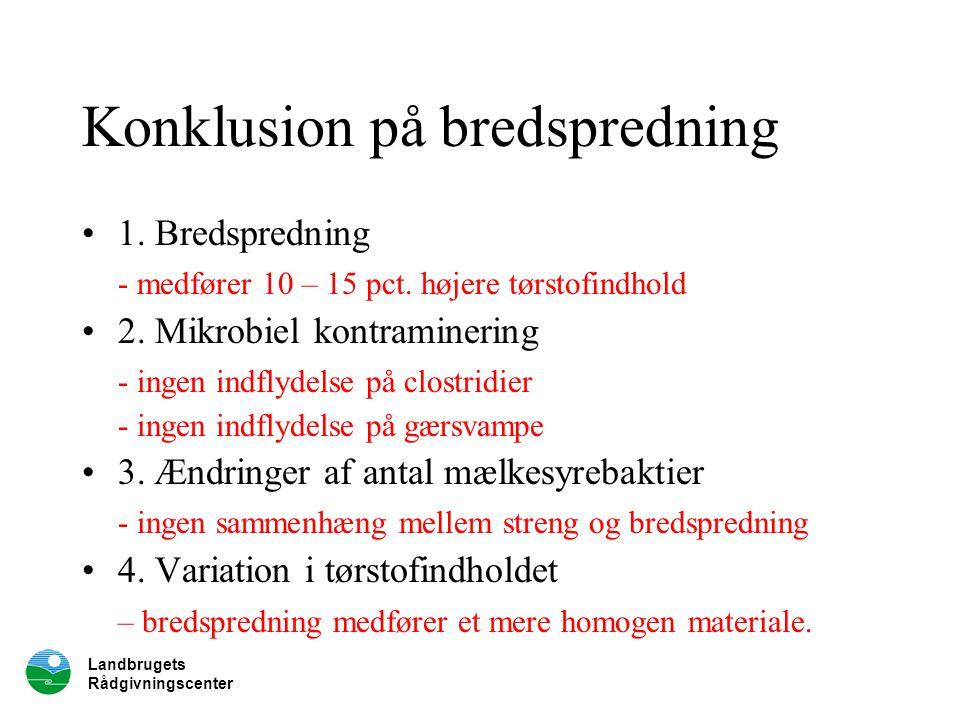 Landbrugets Rådgivningscenter Konklusion på bredspredning 1.