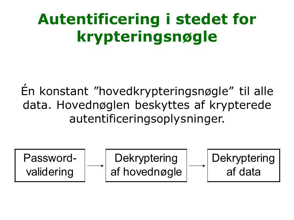 Autentificering i stedet for krypteringsnøgle Password- validering Dekryptering af hovednøgle Dekryptering af data Én konstant hovedkrypteringsnøgle til alle data.