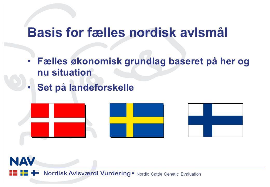 Nordisk Avlsværdi Vurdering Nordic Cattle Genetic Evaluation Basis for fælles nordisk avlsmål Fælles økonomisk grundlag baseret på her og nu situation Set på landeforskelle