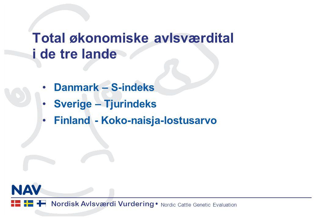 Nordisk Avlsværdi Vurdering Nordic Cattle Genetic Evaluation Total økonomiske avlsværdital i de tre lande Danmark – S-indeks Sverige – Tjurindeks Finland - Koko-naisja-lostusarvo