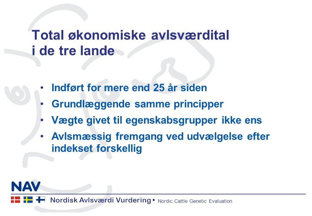 Nordisk Avlsværdi Vurdering Nordic Cattle Genetic Evaluation Total økonomiske avlsværdital i de tre lande Indført for mere end 25 år siden Grundlæggende samme principper Vægte givet til egenskabsgrupper ikke ens Avlsmæssig fremgang ved udvælgelse efter indekset forskellig