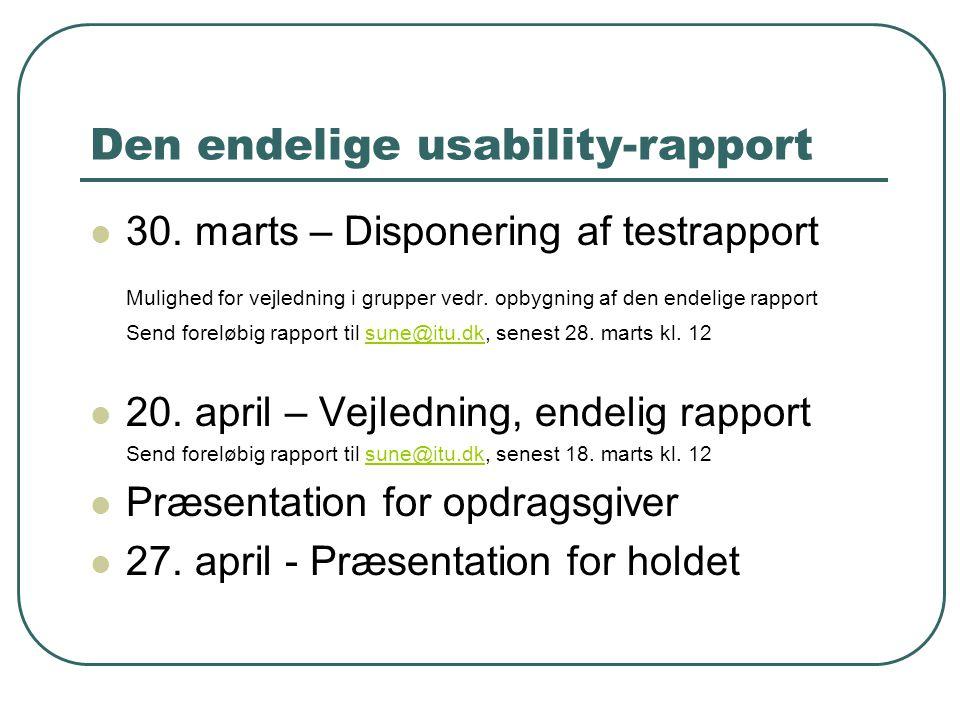 Den endelige usability-rapport 30.