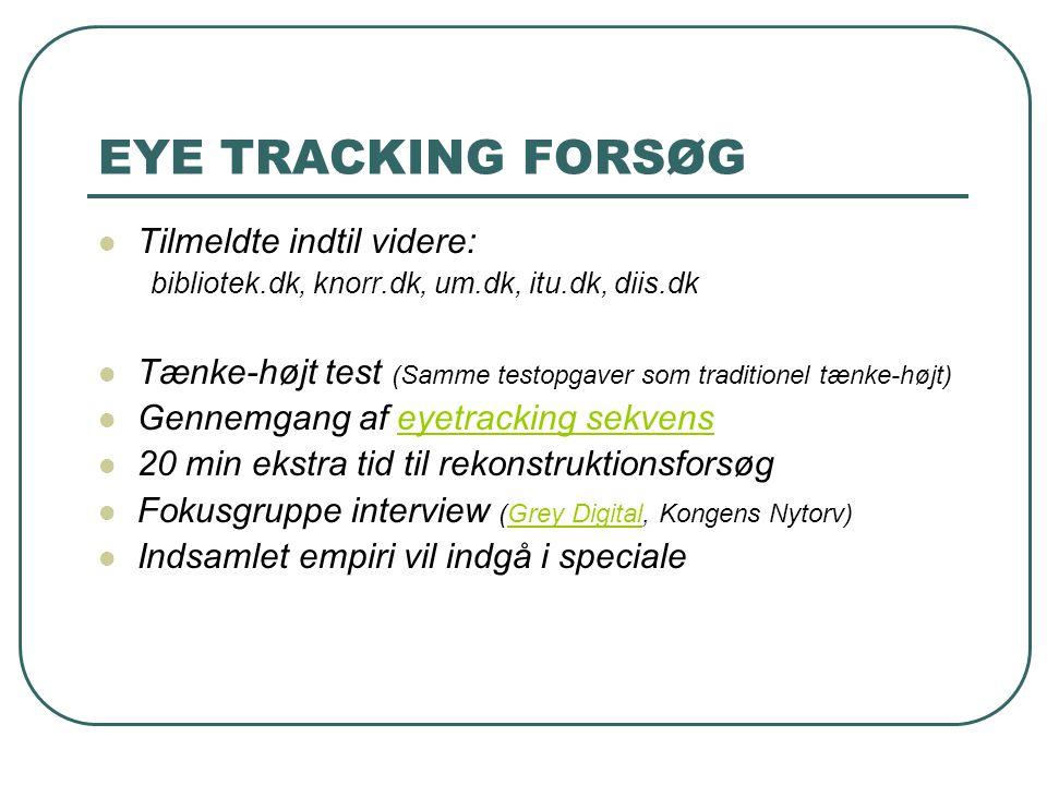 EYE TRACKING FORSØG Tilmeldte indtil videre: bibliotek.dk, knorr.dk, um.dk, itu.dk, diis.dk Tænke-højt test (Samme testopgaver som traditionel tænke-højt) Gennemgang af eyetracking sekvenseyetracking sekvens 20 min ekstra tid til rekonstruktionsforsøg Fokusgruppe interview (Grey Digital, Kongens Nytorv)Grey Digital Indsamlet empiri vil indgå i speciale