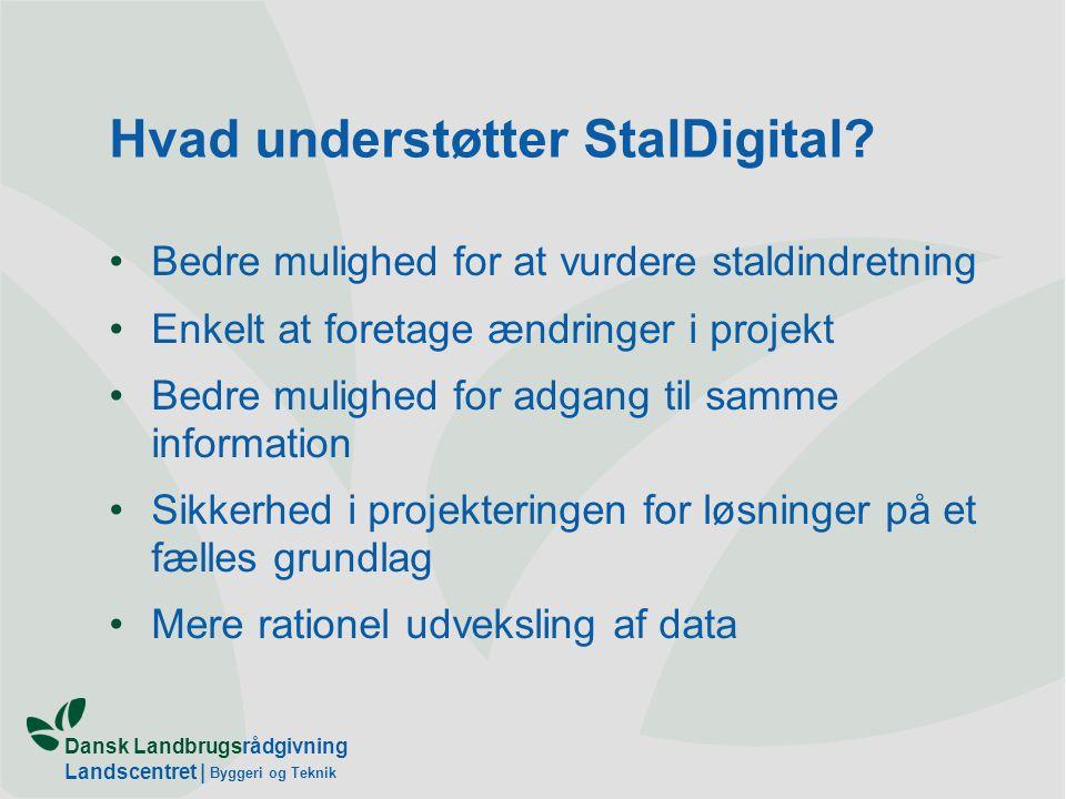 Dansk Landbrugsrådgivning Landscentret   Byggeri og Teknik Hvad understøtter StalDigital.