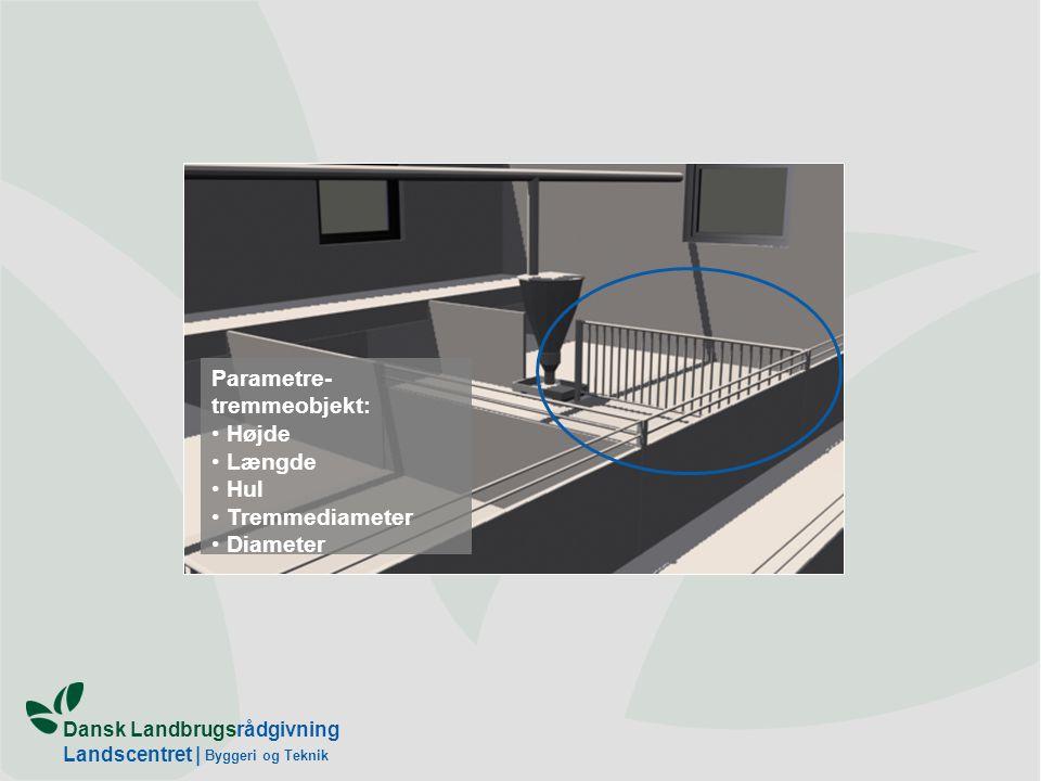 Dansk Landbrugsrådgivning Landscentret | Byggeri og Teknik Parametre- tremmeobjekt: Højde Længde Hul Tremmediameter Diameter