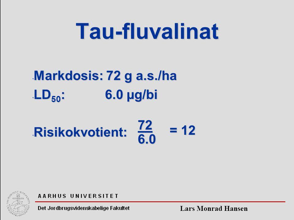 Lars Monrad Hansen Tau-fluvalinat Markdosis: 72 g a.s./ha Markdosis: 72 g a.s./ha LD 50 : 6.0 µg/bi LD 50 : 6.0 µg/bi Risikokvotient: Risikokvotient: = 12 726.0