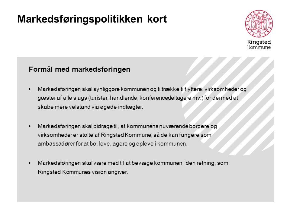 Markedsføringspolitikken kort Formål med markedsføringen Markedsføringen skal synliggøre kommunen og tiltrække tilflyttere, virksomheder og gæster af alle slags (turister, handlende, konferencedeltagere mv.) for dermed at skabe mere velstand via øgede indtægter.