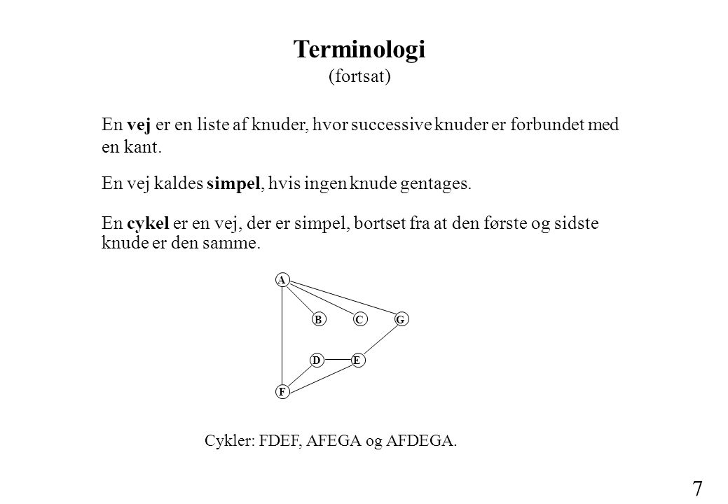 7 Terminologi (fortsat) En vej er en liste af knuder, hvor successive knuder er forbundet med en kant.