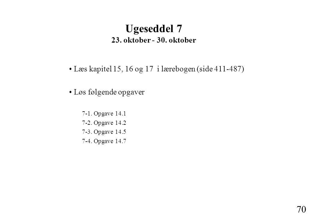 70 Læs kapitel 15, 16 og 17 i lærebogen (side 411-487) Løs følgende opgaver 7-1.