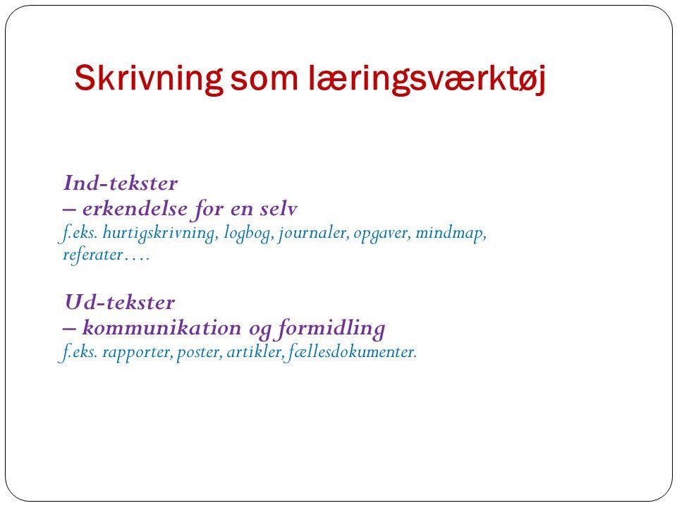 Skrivning som læringsværktøj Ind-tekster – erkendelse for en selv f.eks.