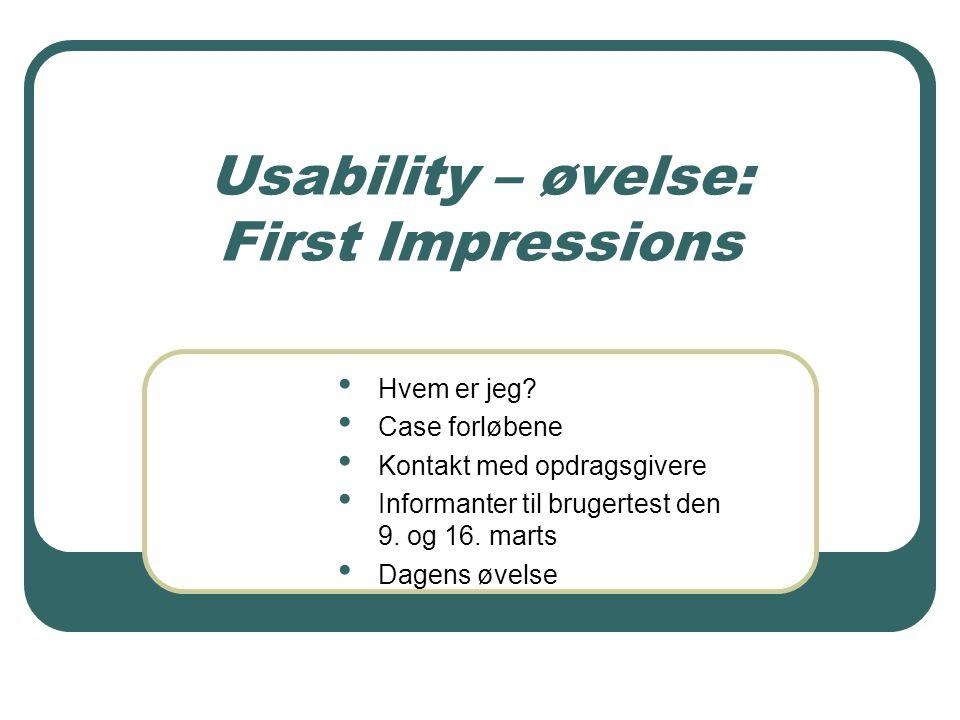 Usability – øvelse: First Impressions Hvem er jeg.