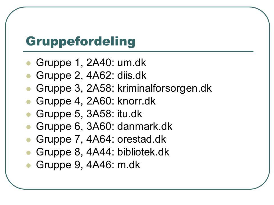 Gruppefordeling Gruppe 1, 2A40: um.dk Gruppe 2, 4A62: diis.dk Gruppe 3, 2A58: kriminalforsorgen.dk Gruppe 4, 2A60: knorr.dk Gruppe 5, 3A58: itu.dk Gruppe 6, 3A60: danmark.dk Gruppe 7, 4A64: orestad.dk Gruppe 8, 4A44: bibliotek.dk Gruppe 9, 4A46: m.dk