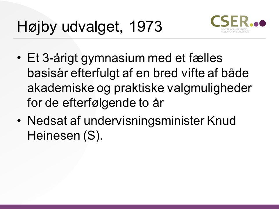 Højby udvalget, 1973 Et 3-årigt gymnasium med et fælles basisår efterfulgt af en bred vifte af både akademiske og praktiske valgmuligheder for de efterfølgende to år Nedsat af undervisningsminister Knud Heinesen (S).