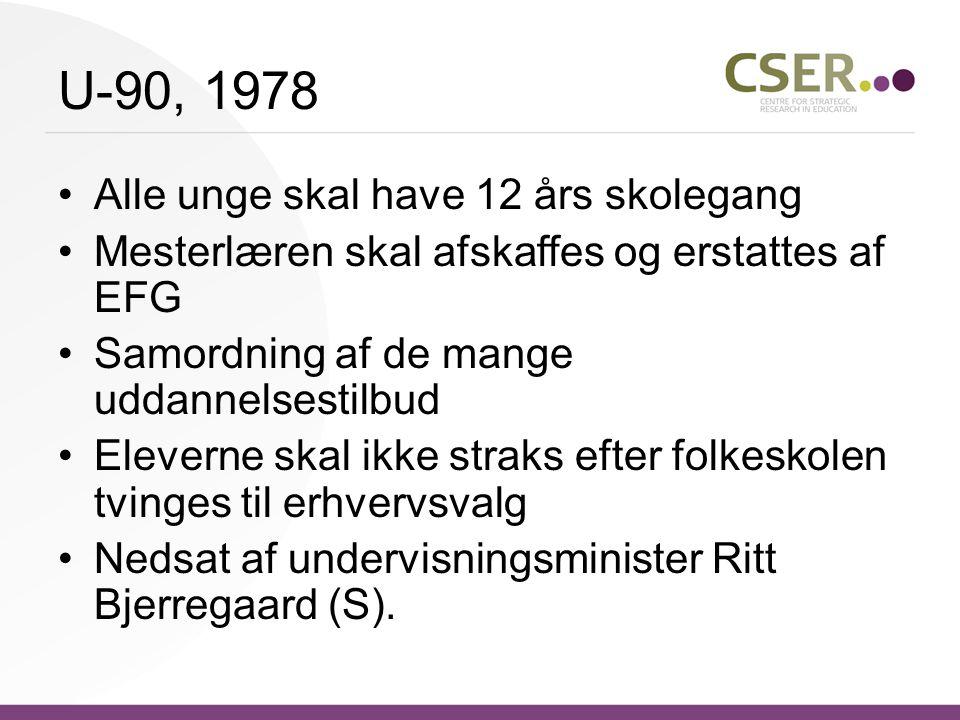 U-90, 1978 Alle unge skal have 12 års skolegang Mesterlæren skal afskaffes og erstattes af EFG Samordning af de mange uddannelsestilbud Eleverne skal ikke straks efter folkeskolen tvinges til erhvervsvalg Nedsat af undervisningsminister Ritt Bjerregaard (S).