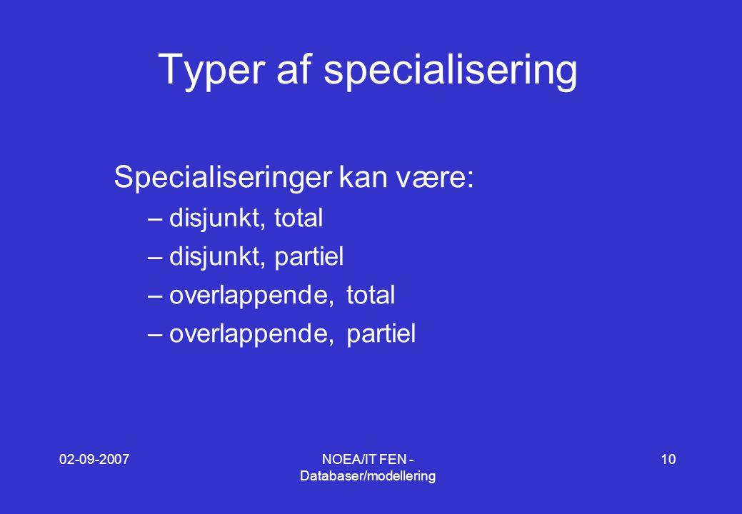 02-09-2007NOEA/IT FEN - Databaser/modellering 10 Typer af specialisering Specialiseringer kan være: –disjunkt, total –disjunkt, partiel –overlappende, total –overlappende, partiel
