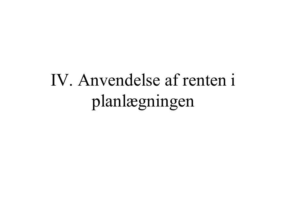 IV. Anvendelse af renten i planlægningen