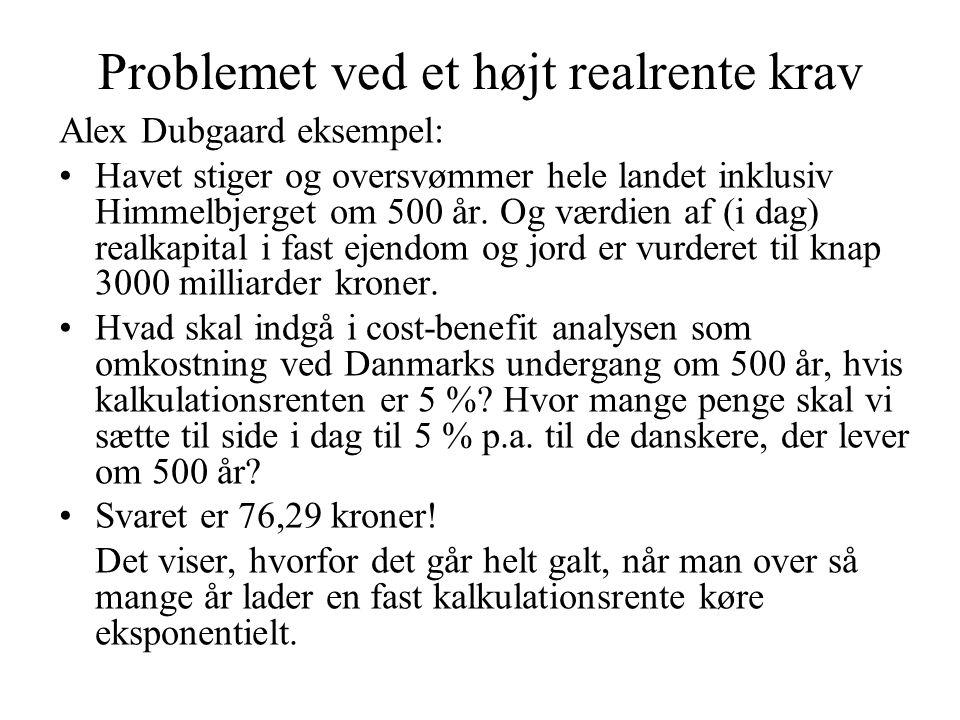 Problemet ved et højt realrente krav Alex Dubgaard eksempel: Havet stiger og oversvømmer hele landet inklusiv Himmelbjerget om 500 år.