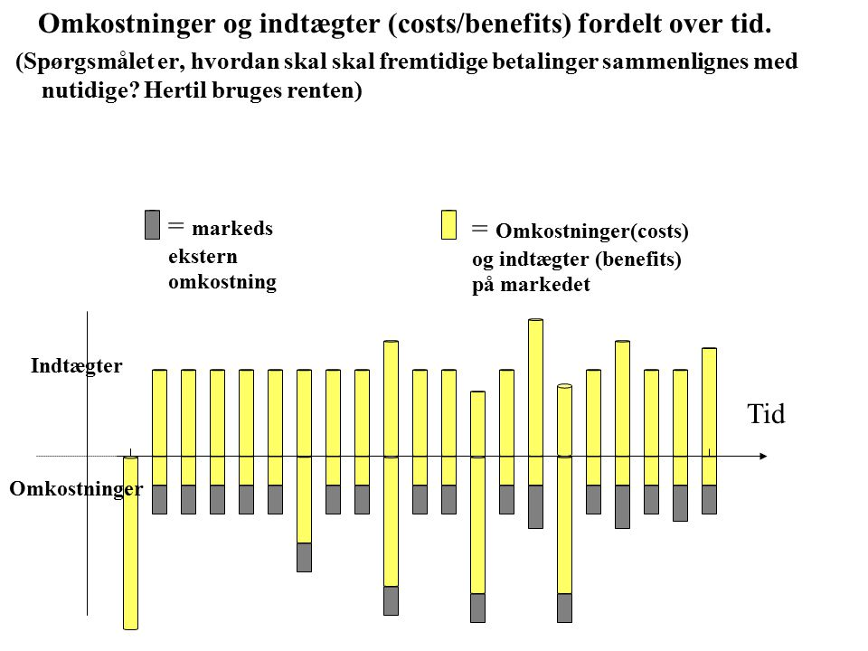 Omkostninger og indtægter (costs/benefits) fordelt over tid.