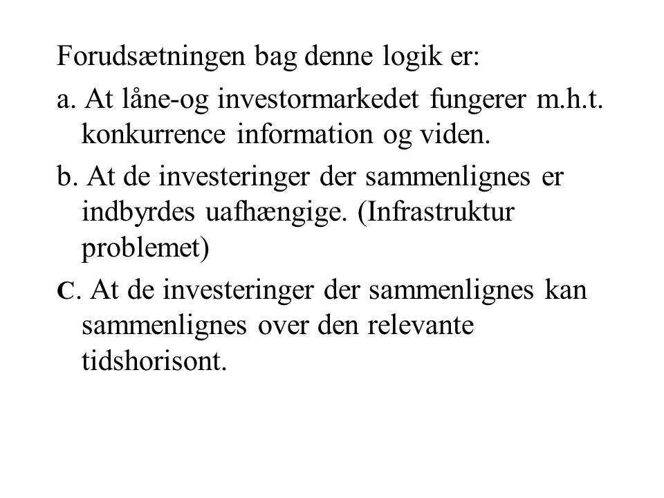 Forudsætningen bag denne logik er: a. At låne-og investormarkedet fungerer m.h.t.
